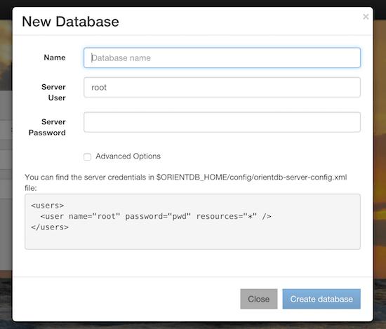 create new database window