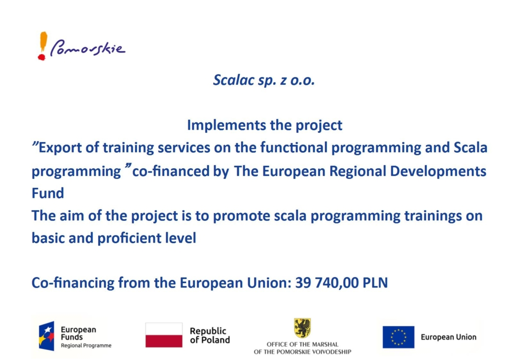 Information about funds received by Scalac from EU