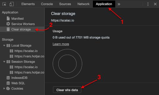 Clear cache Developer tools
