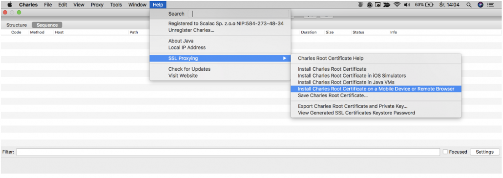 Testing for mobile apps - Charles Proxy - Certificate